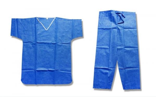 Blue PP / SMS Disposable Protective Gowns Scrub Suit Lightweight S-5XL Size 1
