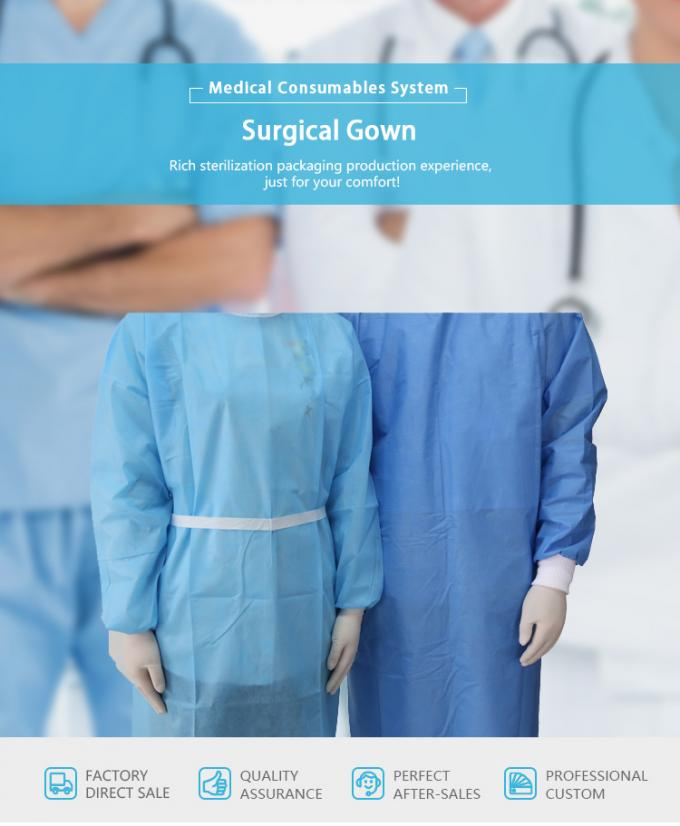 Blue Fluid Resistant Disposable Surgical Gowns EO Sterilize Reforced ...