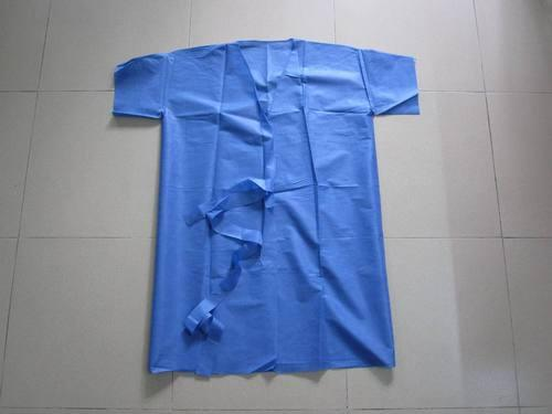 Durable Eco Friendly Disposable Isolation Gown Waist Tie 20-70G Patient Gown