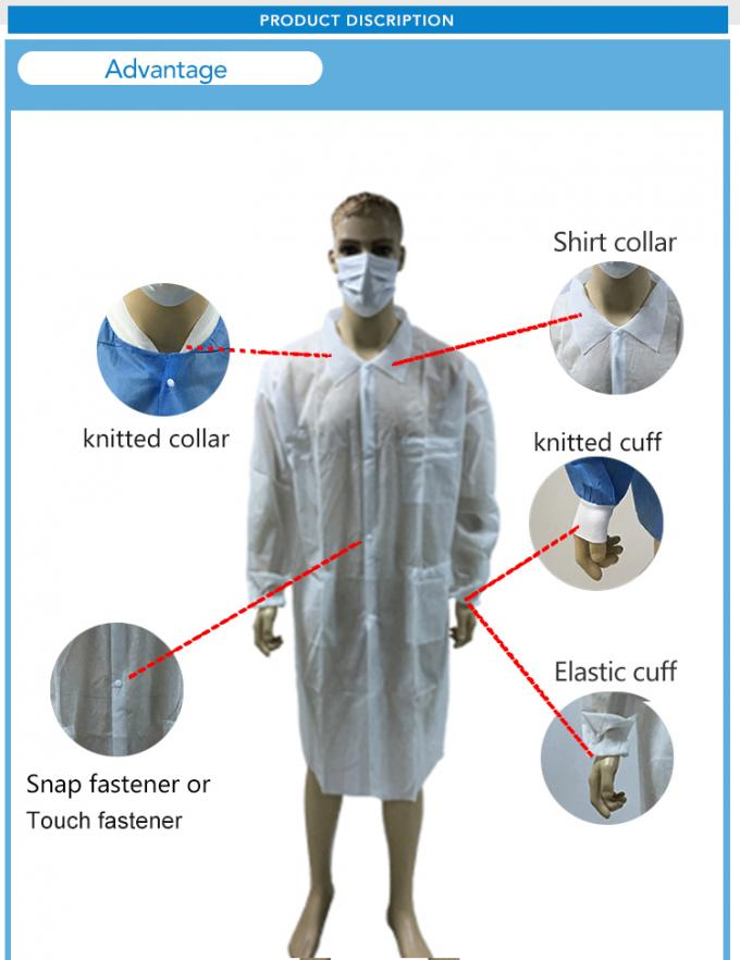 Disposable Non-woven Lab Coat with Good Quality