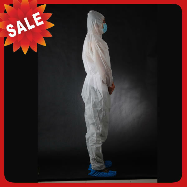 Dark Blue Disposable Chemical Protective Coverall SMS Clothing With Hood And Elastic Wrist