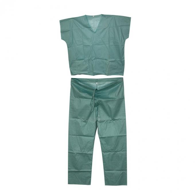 Green Blue Medical Disposable Clothing Non Toxic Nonwoven Round Neck Suits