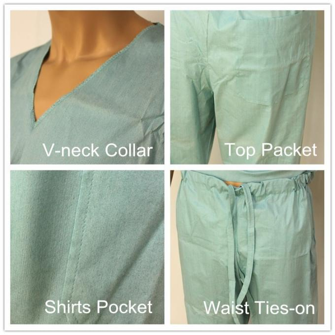 Short Sleeve Disposable Scrub Suits SMS/SPP Nonwoven Nurse Uniform For Hospital Using