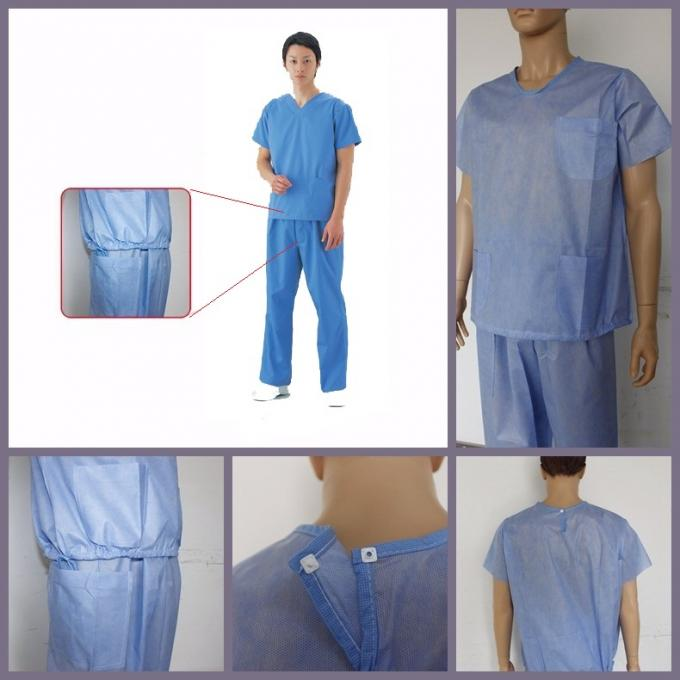 Unisex SMMS Disposable Scrub Suits V-neck Shirt And Pants For Doctor EO Sterilized