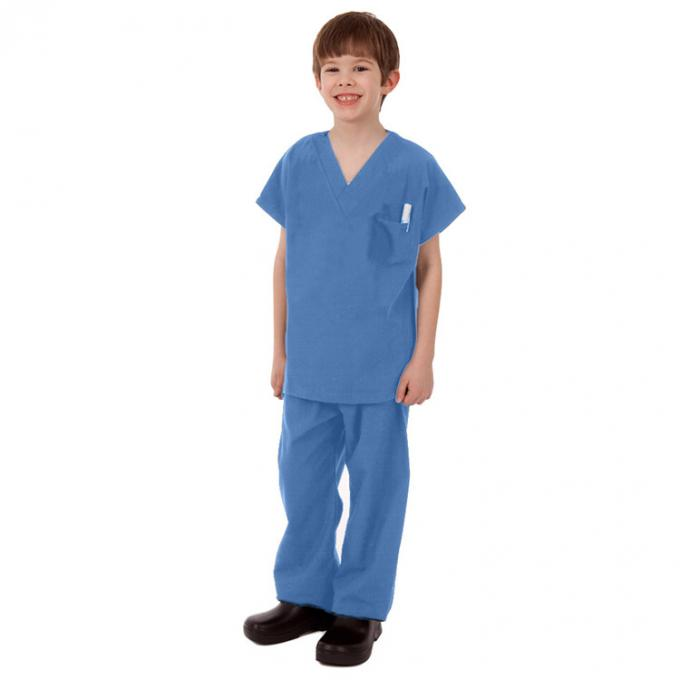 Children Disposable Scrub Suits Blue/Dark Blue Nonwoven For Cleaning Room