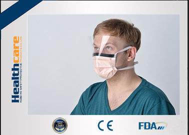 China Orange Disposable Surgical Mask With Tie and Anti Fog Visor Grand A Carbon Strip supplier