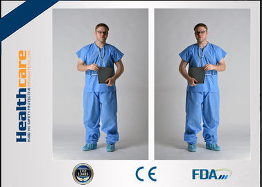 China Blue PP / SMS Disposable Protective Gowns Scrub Suit Lightweight S-5XL Size supplier