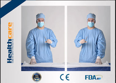 China Sterile Disposable Protective Gowns Nonwoven Gowns With Knitted Cuff Medical Blue supplier