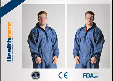 China Dark Blue Disposable Chemical Protective Coverall SMS Clothing With Hood And Elastic Wrist supplier