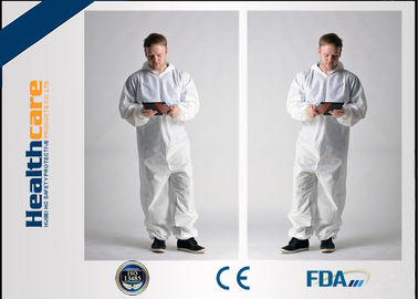 China Hooded Disposable Boiler Suits Waterproof Overalls Non Woven 15gram -60gram supplier