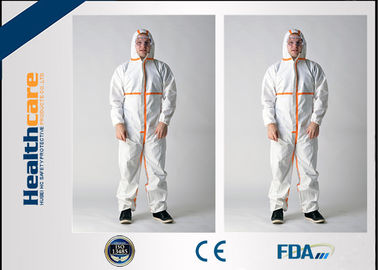 Microporous Disposable Hooded Coveralls Breathable White With Shoe Cover Anti - Dust