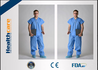 China Children Disposable Scrub Suits Blue/Dark Blue Nonwoven For Cleaning Room supplier