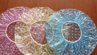 China PE Clear Disposable Shower Caps , Disposable Plastic Hair Caps For Hotel / Cooking supplier