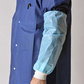 China Blue Nonwoven Disposable Sleeve Covers Arm Protectors Oil Proof With Knitted Cuff supplier
