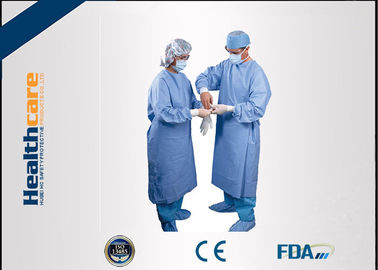 China Water Resistant Disposable Surgical Gowns SMS Standard Medical Blue With Knitted Cuff supplier
