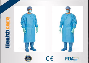 China Red / Green Disposable Surgical Gowns Against Liquid Biodegradable Elastic Cuff 16-80gsm supplier