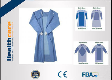 China Blue Fluid Resistant Disposable Surgical Gowns EO Sterilize Reforced Chemotherapy Gown supplier