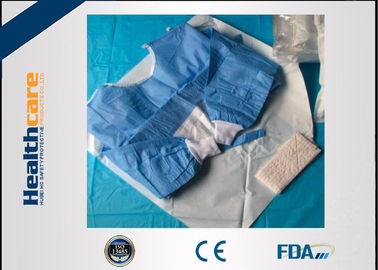 China Biodegradable Disposable Surgical Gowns Medical Apparel With 4 Waist Belts Blue Color supplier