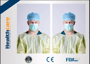 China Yellow Disposable Isolation Gowns One Time Use Knitted Cuff Barrier Gowns Against Liquid supplier