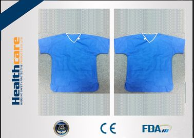 China Sterile Spunlace Disposable Light Blue Hospital Scrubs With Round Neck Waterproof supplier