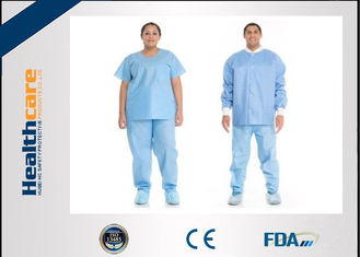 China Short Sleeve Disposable Scrub Suits SMS/SPP Nonwoven Nurse Uniform For Hospital Using supplier