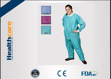 China Green Blue Medical Disposable Clothing Non Toxic Nonwoven Round Neck Suits supplier