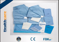 Non Woven PU Film Disposable Surgical Packs Brain Surgery Set With Adhesive / Hole