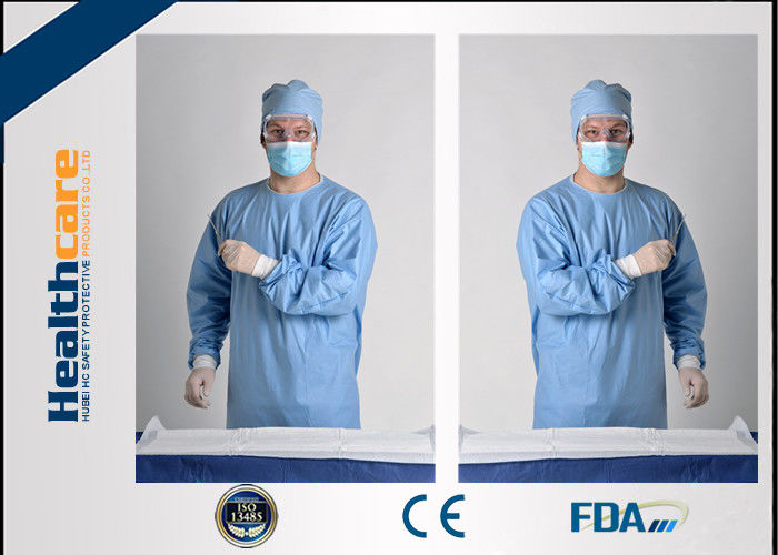 Blue Disposable Surgical Gowns Sterile Reinforced Knitted Wrists ...