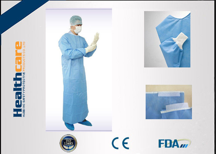 EN13485 Disposable Surgical Gowns Anti - Fluid Nonwoven 4 Ties ...