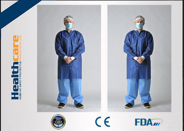 SMS Disposable Lab Coats Dark Blue With Knitted Collar And Knitted Cuff Anti - Static