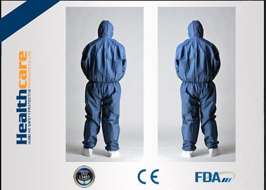 CE Approved Disposable Protective Coveralls Nonwoven Suits White / Yellow / Blue Color