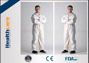 China Long Sleeve Disposable Full Body Protection Suit White Color Non Woven Coverall S-3XL factory