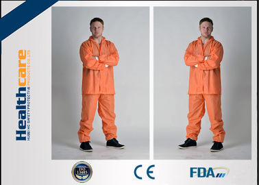 China Grey Color Disposable Protective Coveralls One Piece With Durable Zipper For Korean Market factory