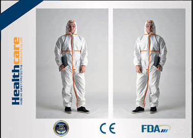 China Type 5 6 Disposable Protective Coveralls / Disposable Clean Room Suits CE Certificate factory