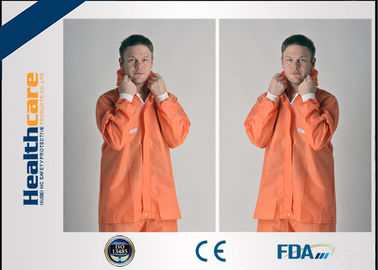 Orange PP/SMS Disposable Protective Coveralls With Elastic Cuff Wrists And Ankles