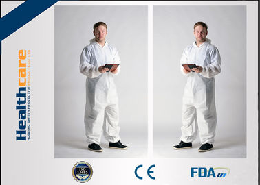 Microporous Disposable Protective Coveralls / Disposable All In One Suits OEM