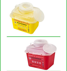 5 Liter Square Plastic Sharps Waste Container For Hospital Use , Sharps Box For Needles