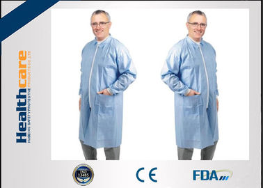 Nonwoven Disposable Lab Coats Protective Medical Clothing with Collar and Zip