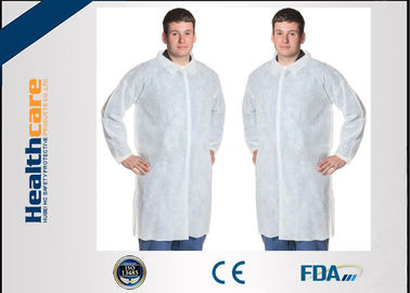 Polypropylene Disposable Lab Coat With Knitted Cuff And Button Blue Or White Color
