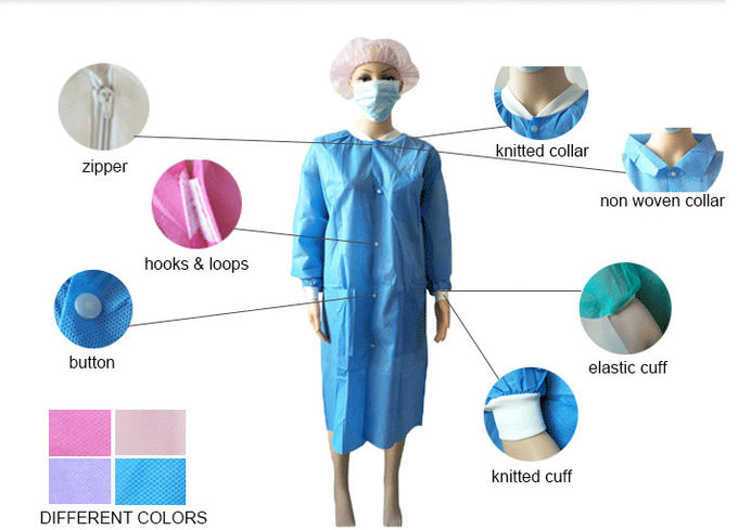 Dustproof PP Colored Disposable Scrubs And Lab Coats With Hook Loop Closure