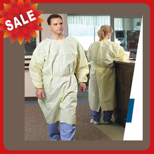 Nonwoven Disposable Dressing Gowns Hospital Scrubs With Elastic Cuff Anti Blood