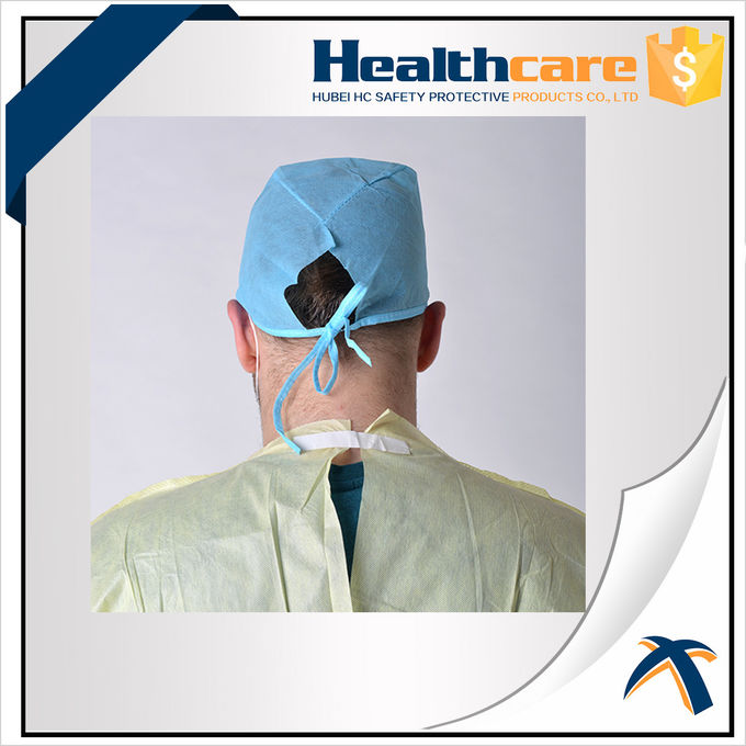 Green Disposable Head Cap Scrub Hats 30Gsm With Tie-on Hand Made/Machine Made CE ISO FDA