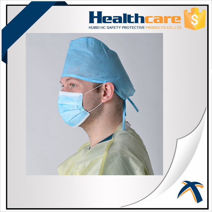 Medical Blue Disposable Head Cap Nonwoven Doctor Cap With Elastic Back And Floral